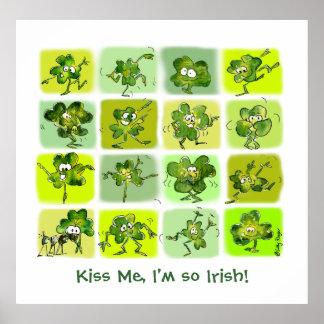 Kiss Me I'm So Irish - Cute Cartoon Shamrocks Print