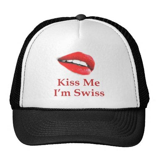 Kiss Me I'm Swiss Trucker Hats