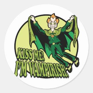 Kiss Me!  I'm Vampirish! Round Stickers