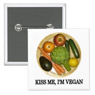 Kiss me, I'm vegan Button