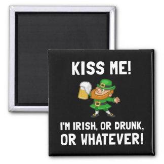 Kiss Me Irish Drunk 2 Inch Square Magnet