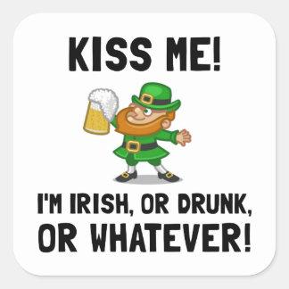 Kiss Me Irish Drunk Square Sticker