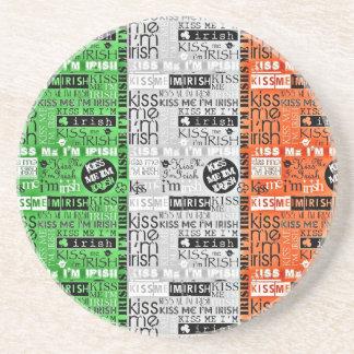 Kiss Me Irish Flag Drink Coasters