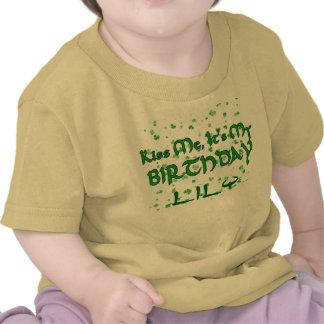 Kiss Me It s My Birthday Shamrocks Customizable Tee Shirt