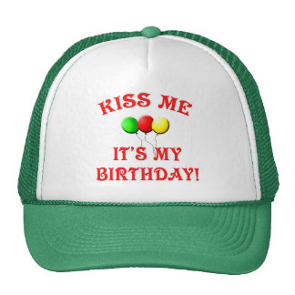 Kiss Me It s My Birthday with Balloons Mesh Hat