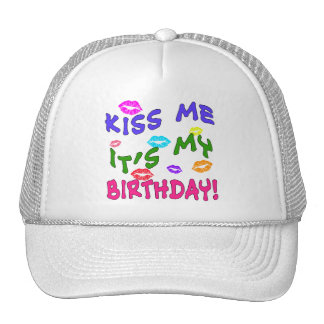 Kiss Me It s My Birthday with Colorful Kisses Mesh Hats