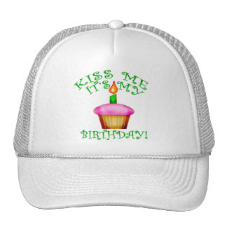 Kiss Me It s My Birthday with Cupcake Hats