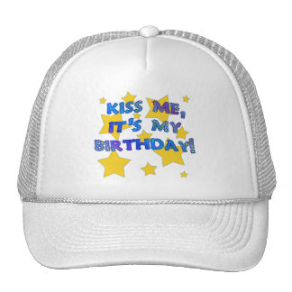 Kiss Me it s My Birthday with Gold Stars Mesh Hats
