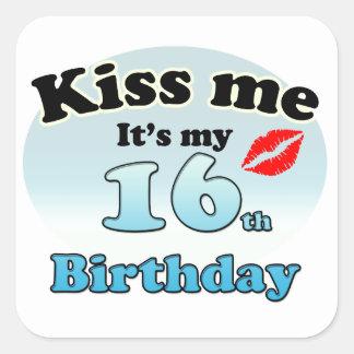 Kiss me it's my 16th Birthday Square Sticker