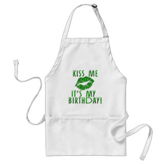 Kiss Me It's My Birthday in Green Adult Apron