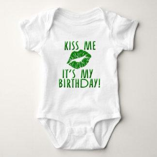 Kiss Me It's My Birthday in Green Baby Bodysuit