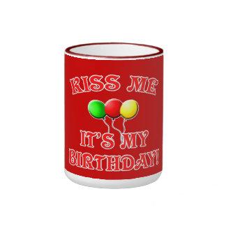 Kiss Me It's My Birthday with Balloons Ringer Mug
