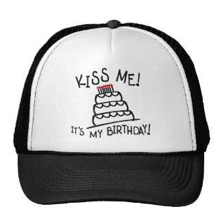 Kiss Me! It's My Birthday! With Bday Cake, Candles Mesh Hat