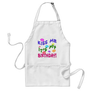 Kiss Me It's My Birthday with Colorful Kisses Adult Apron