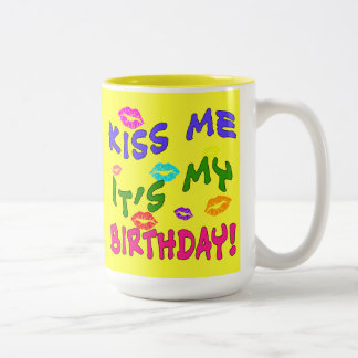Kiss Me It's My Birthday with Colorful Kisses Two-Tone Coffee Mug