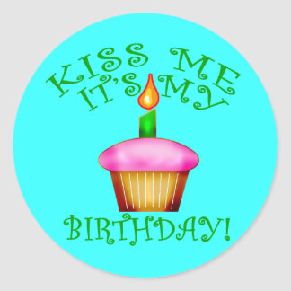 Kiss Me It's My Birthday with Cupcake Classic Round Sticker