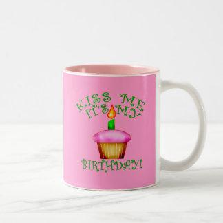 Kiss Me It's My Birthday with Cupcake Two-Tone Coffee Mug