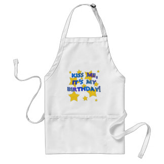 Kiss Me it's My Birthday with Gold Stars Adult Apron
