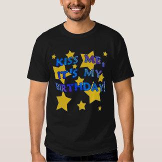 Kiss Me it's My Birthday with Gold Stars Tee Shirt