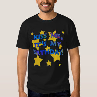 Kiss Me it's My Birthday with Gold Stars Tee Shirts