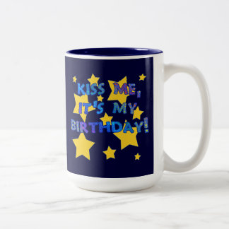 Kiss Me it's My Birthday with Gold Stars Two-Tone Coffee Mug