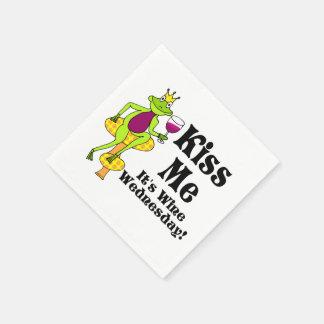 Kiss Me!  It's Wine Wednesday! Wine Prince Standard Cocktail Napkin