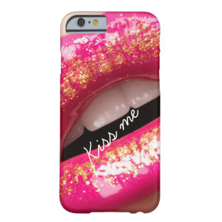kiss me love lips lipstick background barely there iPhone 6 case