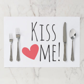 Kiss Me Love Quote Red Heart Wedding Party Paper Placemat
