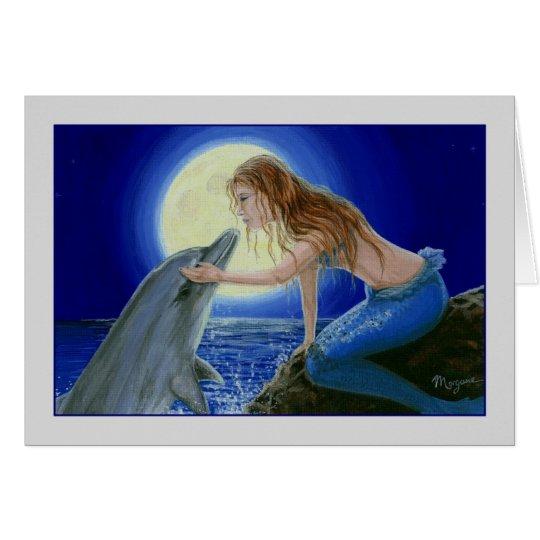 Kiss Me Mermaid & Dolphin Fantasy greeting card