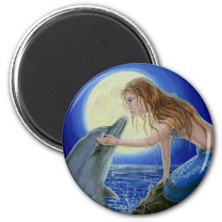 Kiss Me Mermaid & Dolphin Fantasy Magnet