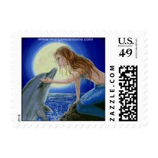 Kiss Me Mermaid & Dolphin Fantasy postage stamp