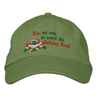 Kiss Me Now Frog Embroidered Baseball Hat