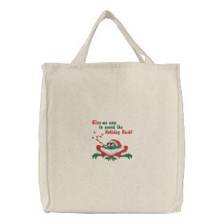 Kiss Me Now Frog Embroidered Tote Bag
