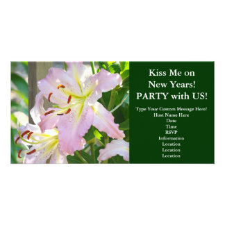 Kiss me on New Years! Invitations Pink Lily Flower
