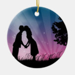 Kiss Me Double-Sided Ceramic Round Christmas Ornament
