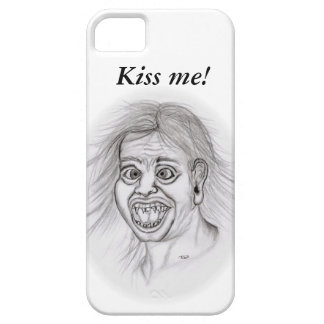 Kiss ME! - pencil drawing, black and design white iPhone 5 Carcasa