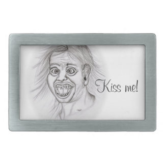 Kiss me! Pencil drawing black and white Design Belt Buckle