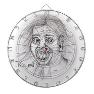 Kiss me! Pencil drawing black and white Design Dart Board