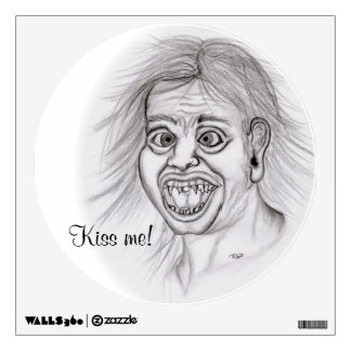 Kiss me! Pencil drawing black and white Design Wall Sticker