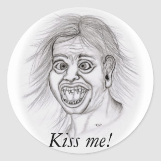 Kiss ME! - Pencil drawing Classic Round Sticker