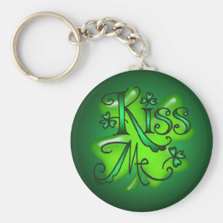 KISS ME SHAMROCKS by SHARON SHARPE Keychain