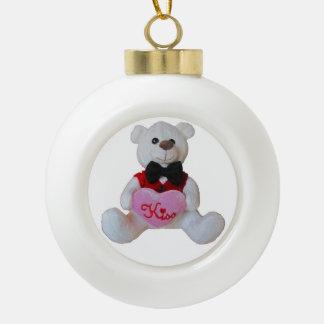 Kiss Me Tuxedo Teddy Bear Ceramic Ball Christmas Ornament