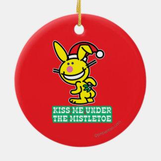 Kiss Me Under The Mistletoe Ceramic Ornament