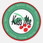 KIss Me Under The Mistletoe Classic Round Sticker