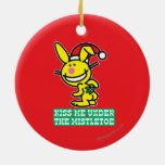 Kiss Me Under The Mistletoe Double-Sided Ceramic Round Christmas Ornament