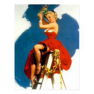 Kiss Me Under the Mistletoe Pin Up Girl Postcard