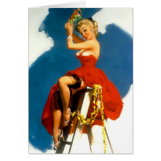 Kiss Me Under the Mistletoe Pin-Up Greeting Card