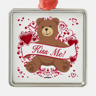 Kiss Me! Valentine's Day Teddy Bear Metal Ornament