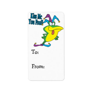 kiss me you fool jester frog cartoon label