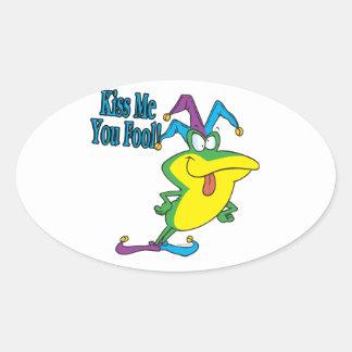 kiss me you fool jester frog cartoon oval sticker